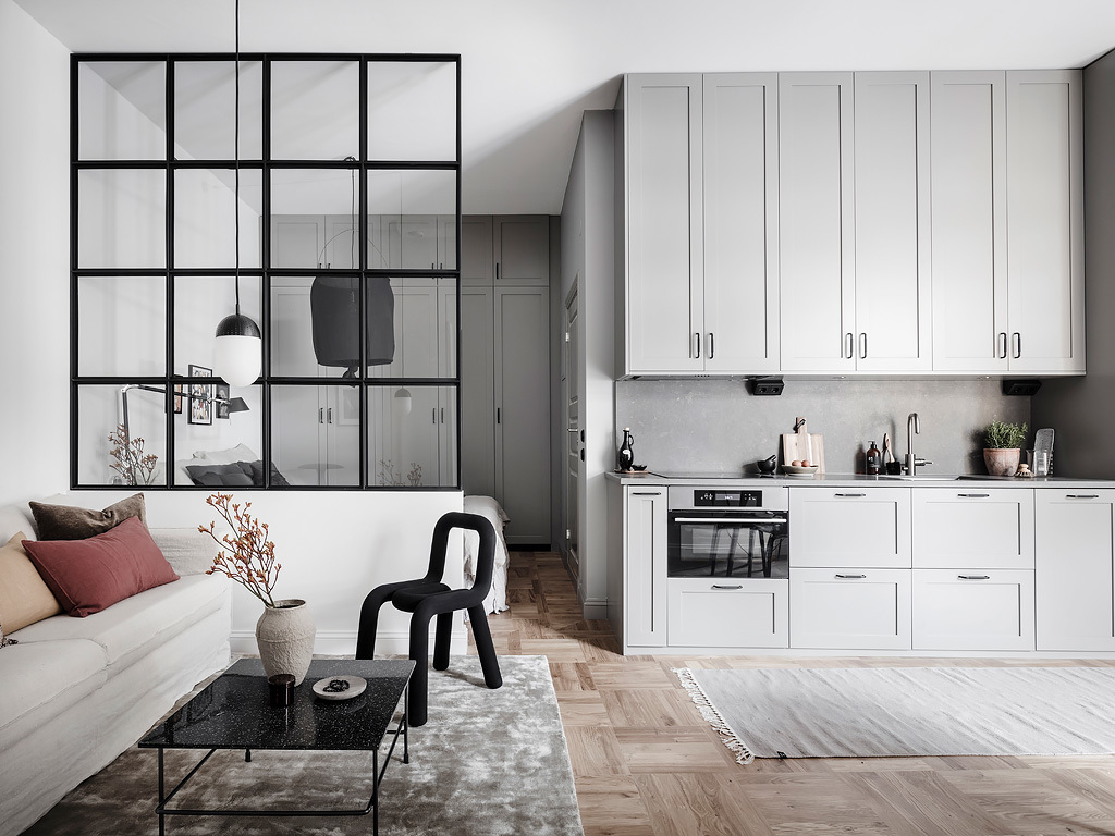 smart studio with a glass partition coco lapine. Black Bedroom Furniture Sets. Home Design Ideas