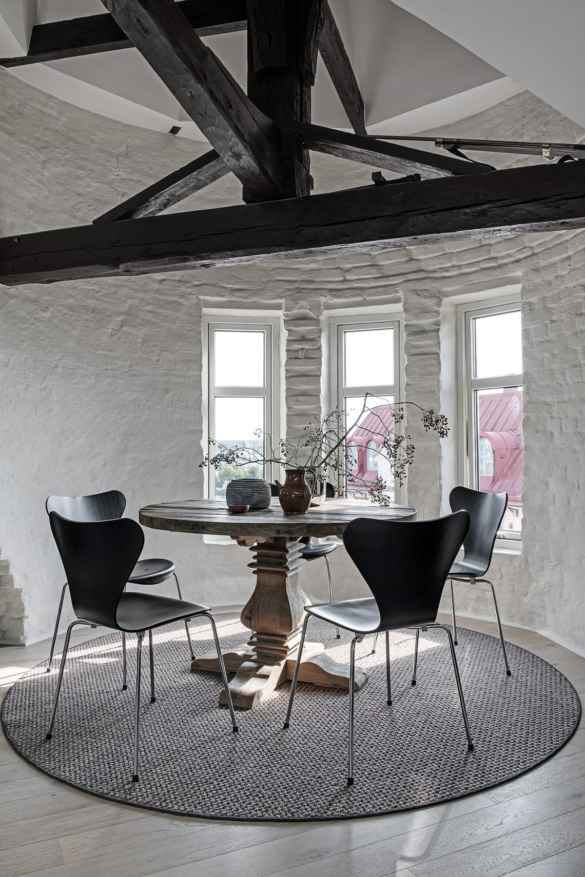 Stylish attic dining room