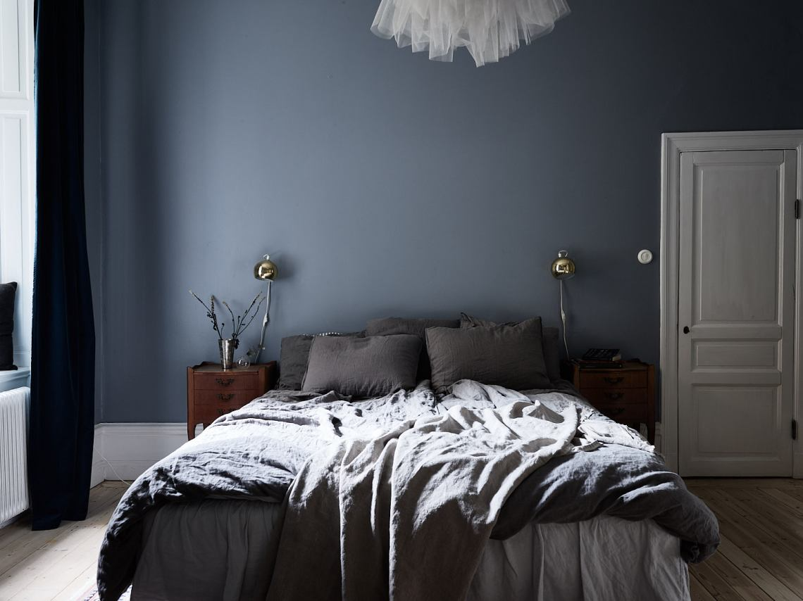 Stylish muted blue bedroom