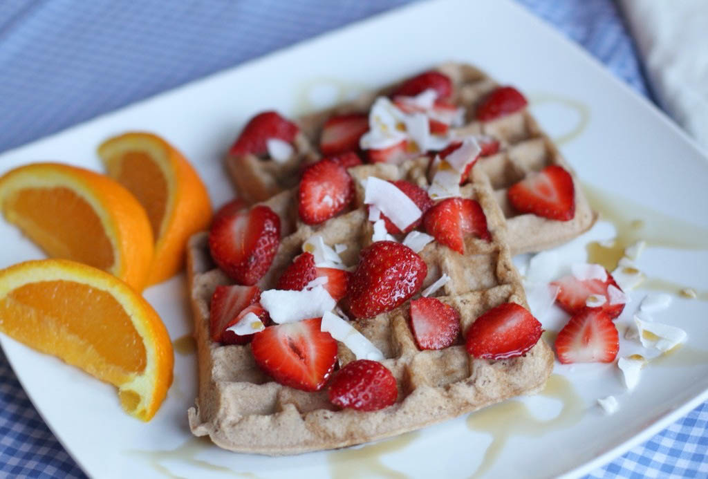 Paleo Strawberry and Coconut Waffles (Nut-free) - Coconut Contentment