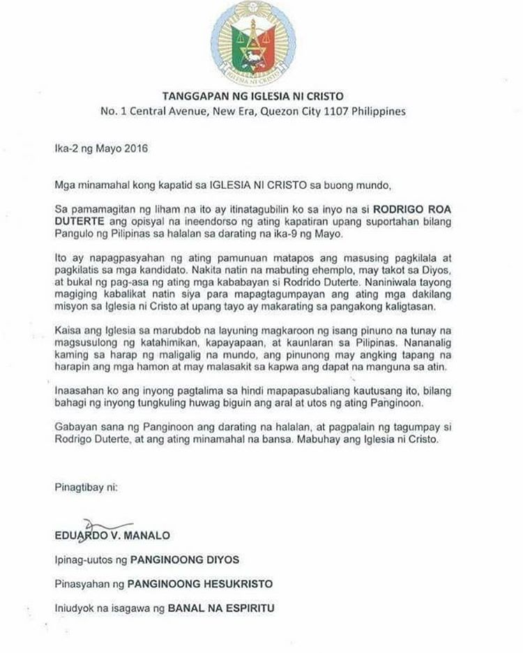 INC spokesman on Duterte endorsement letter \u0027That\u0027s not from - what are candidate endorsement letters