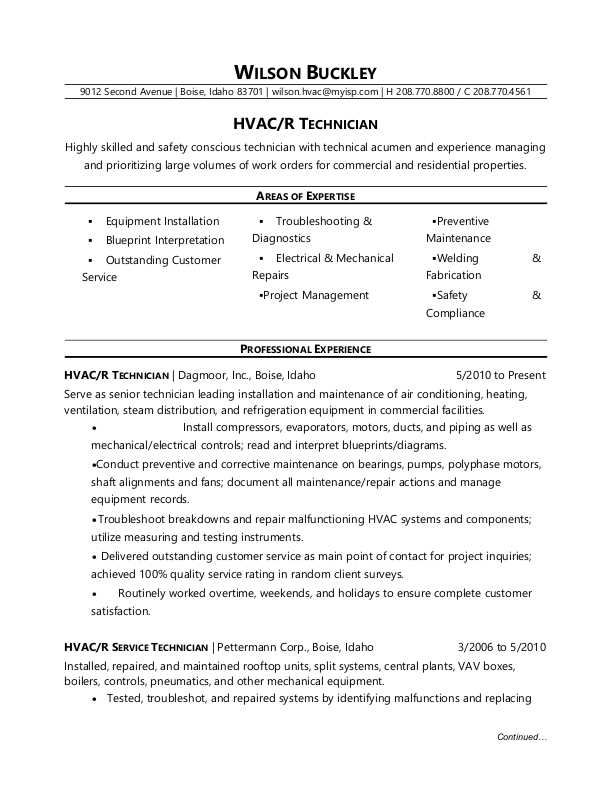 HVAC Technician Resume Sample Monster - areas of expertise resume examples