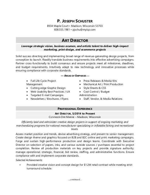 Art Director Resume Sample Monster - sample technology manager resume