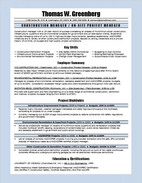 Construction Manager Resume Sample Monster - Project Manager Resume Summary