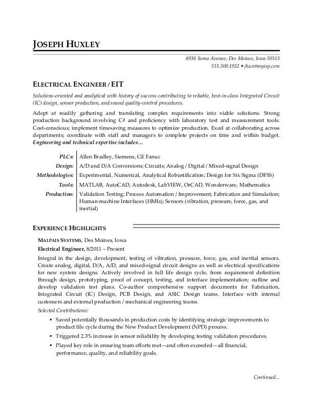 sample resume electrical engineer canada