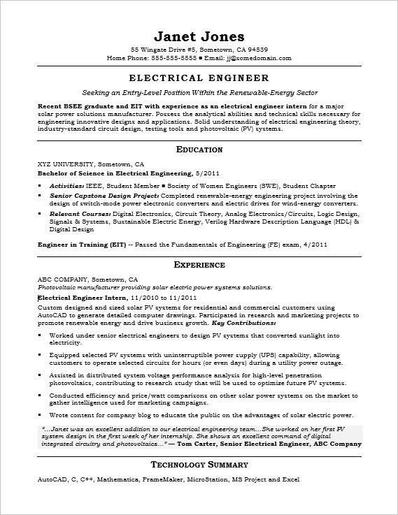 Entry-Level Electrical Engineer Sample Resume Monster