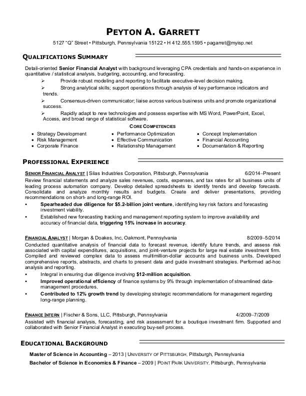 Financial Analyst Resume Sample Monster - Master Resume Example