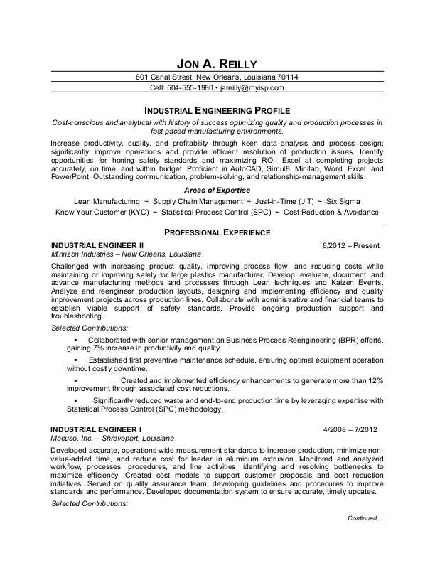 Industrial Engineer Resume Sample Monster - resume templates engineering