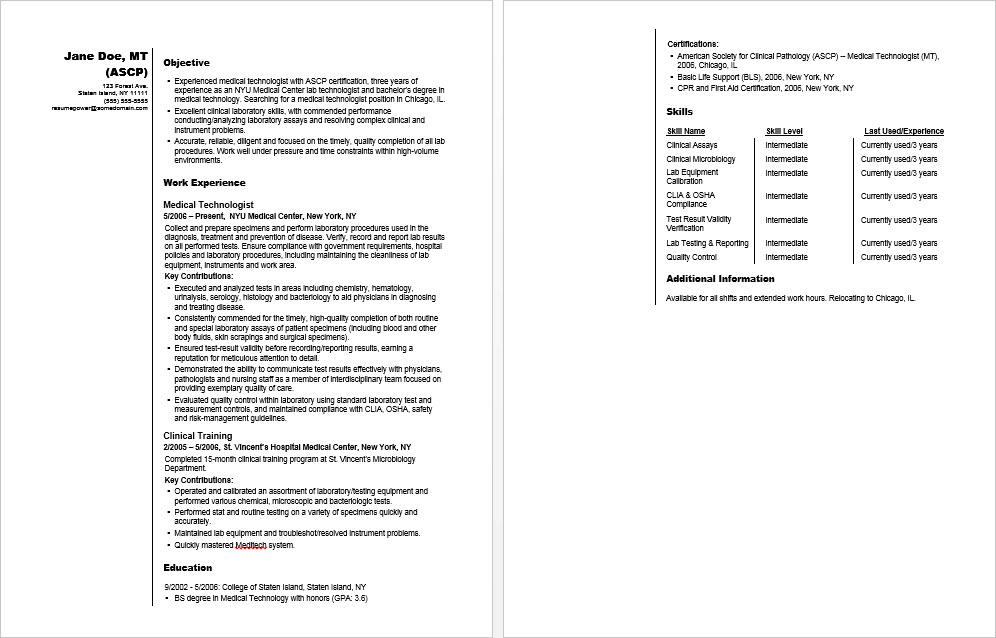 Medical Technologist Sample Resume Monster
