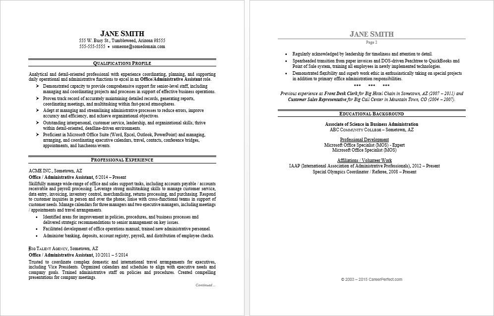 resume example of office asistant entry level