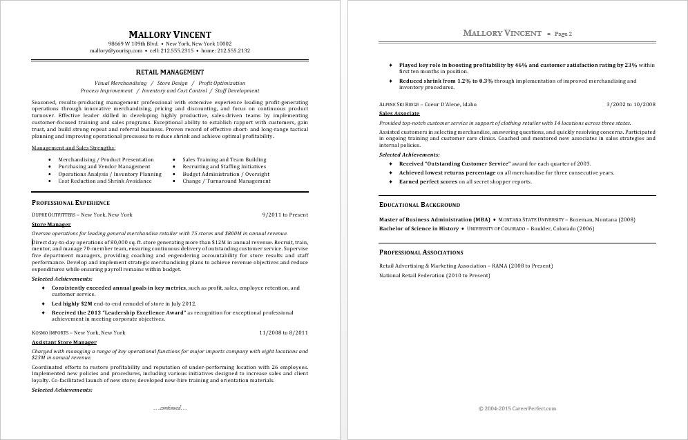 Sample Resume for a Retail Manager Monster - resume for retail manager