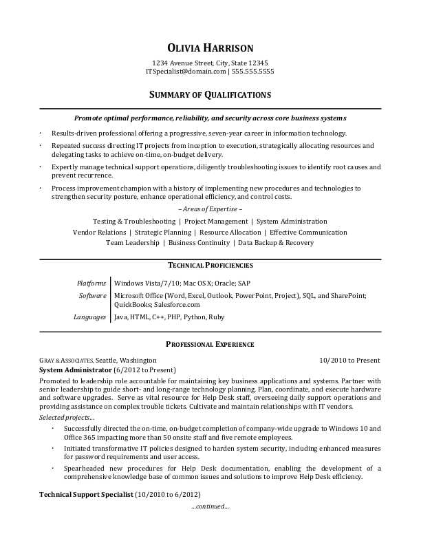 IT Professional Resume Sample Monster - example qualifications for resume