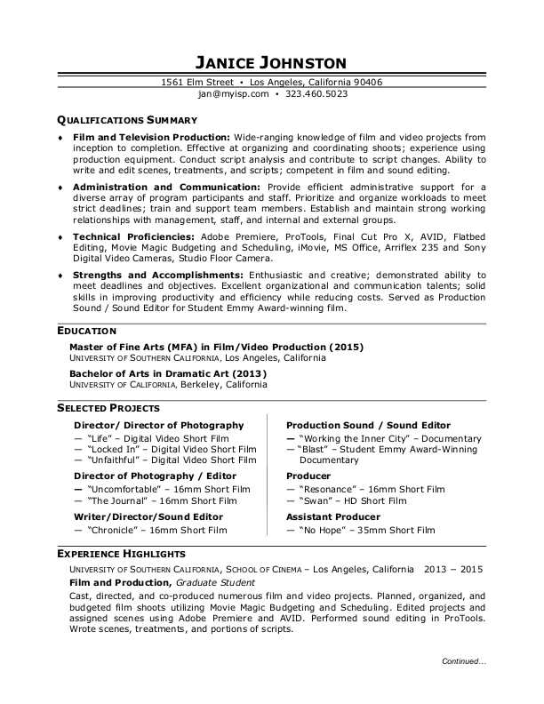 Film Production Resume Sample Monster - sample of resume for students