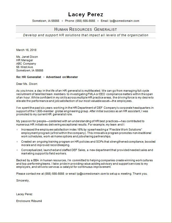HR Generalist Cover Letter Sample Monster - Hr Sample Cover Letter