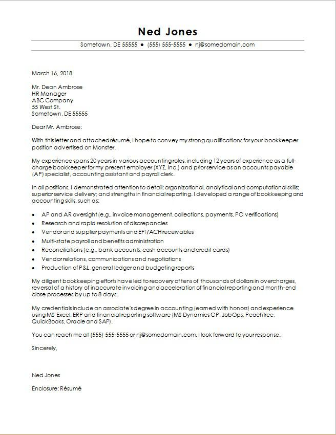 Bookkeeper Cover Letter Sample Monster - sample of cover letters for job application