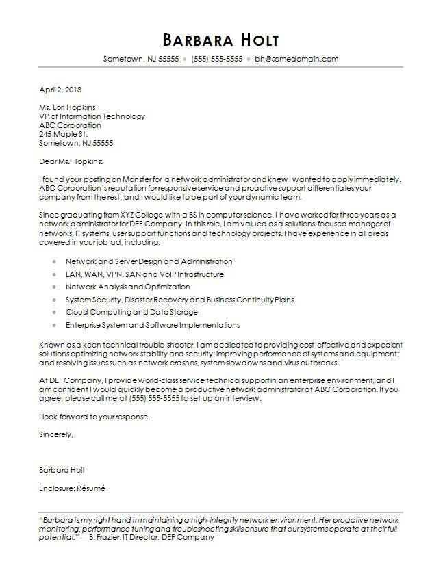 Computer Science Cover Letter Sample Monster - It Cover Letters