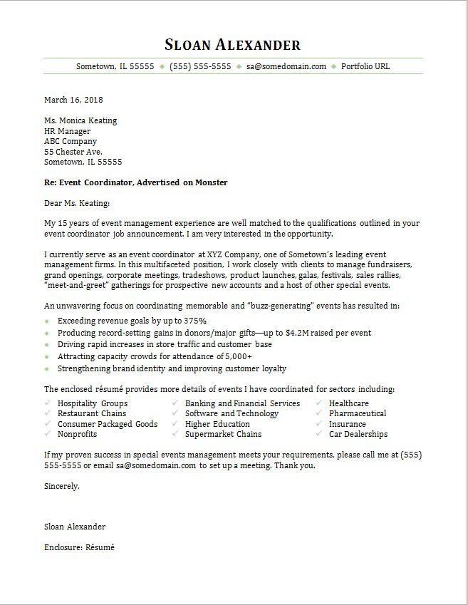 Event Coordinator Cover Letter Sample Monster - Hr Sample Cover Letter
