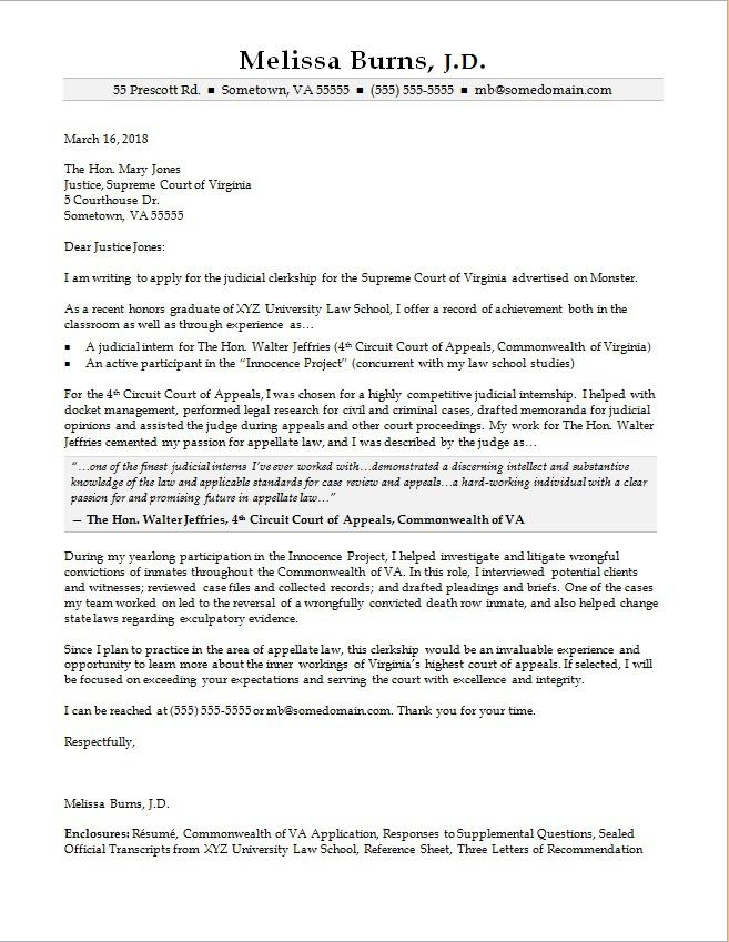Judicial Clerkship Cover Letter Sample Monster - law school recommendation letter sample
