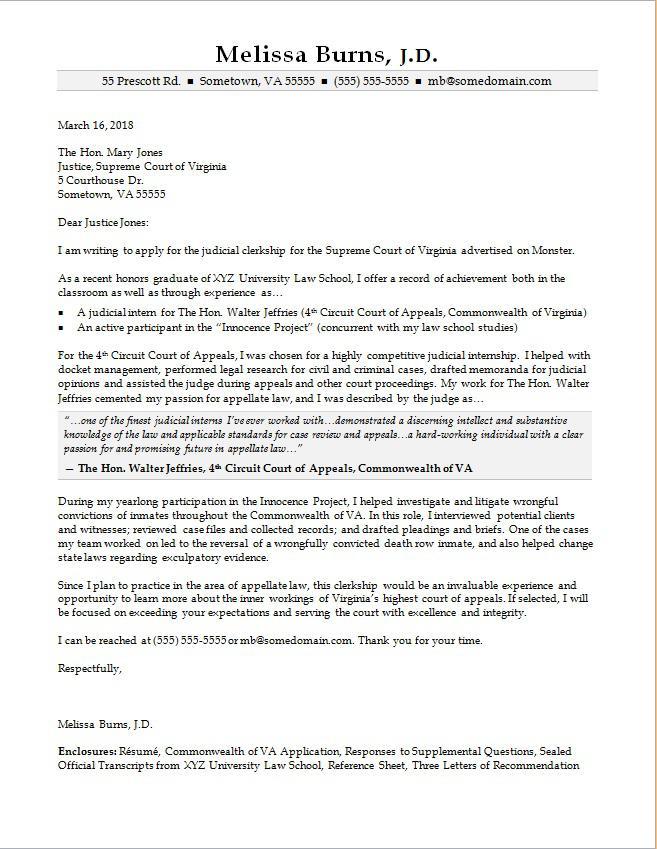 sample judicial clerkship cover letters
