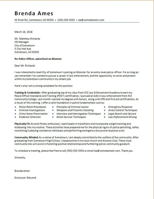 Police Officer Cover Letter Sample Monster - community officer sample resume