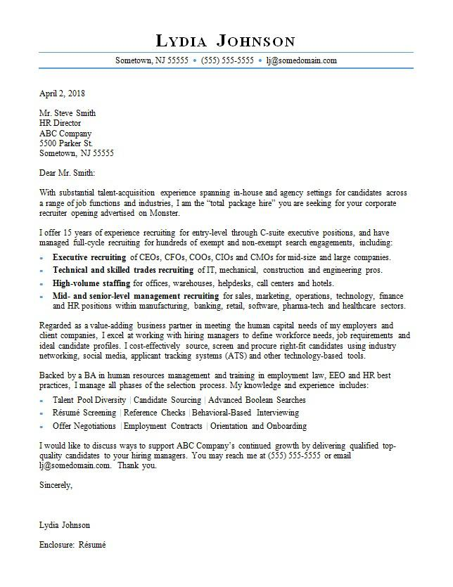 Recruiter Cover Letter Sample Monster - Hr Sample Cover Letter