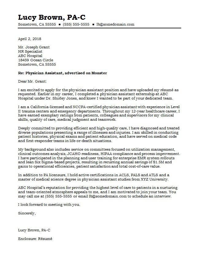 Physician Assistant Cover Letter Sample Monster - example cover letter for resume