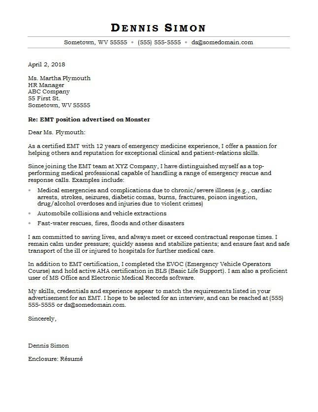 EMT Cover Letter Sample Monster - Writing A Cover Letter Examples