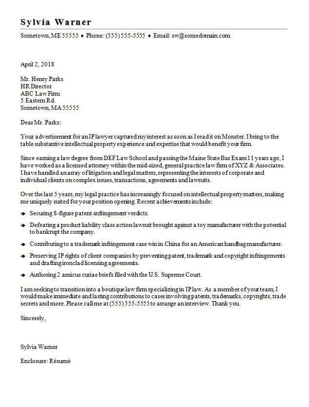Lawyer Cover Letter Sample Monster - sample attorney resume cover letter