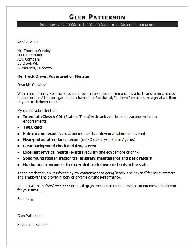 Truck Driver Cover Letter Sample Monster - Hr Sample Cover Letter