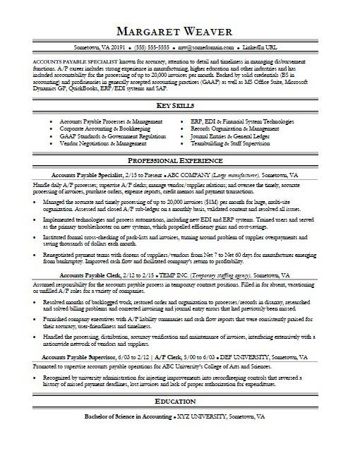 Accounts Payable Resume Sample Monster - samples of accounting resumes
