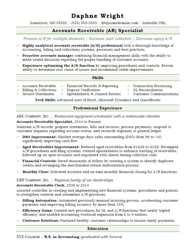 Accounts Receivable Resume Sample Monster - treasury specialist sample resume