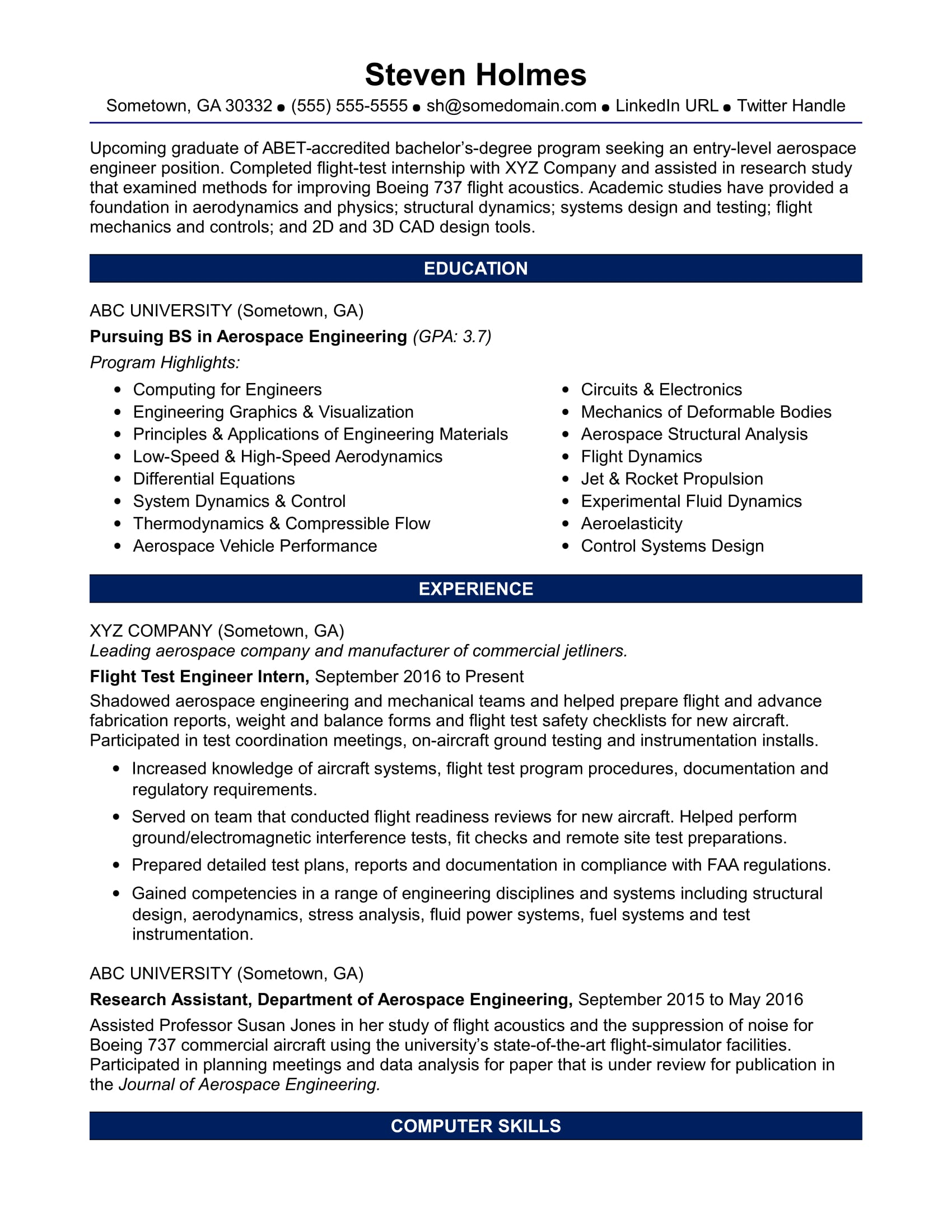 aeronautical engineer cv
