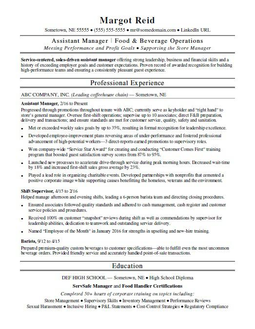 Assistant Manager Resume Sample Monster - food service aide sample resume