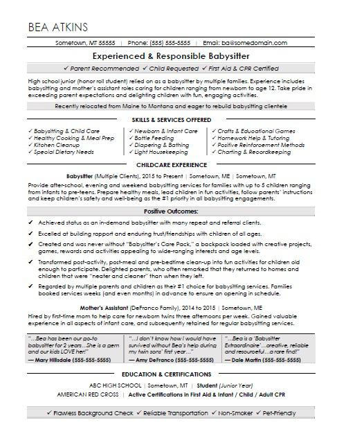 Babysitter Resume Sample Monster - Babysitting On A Resume