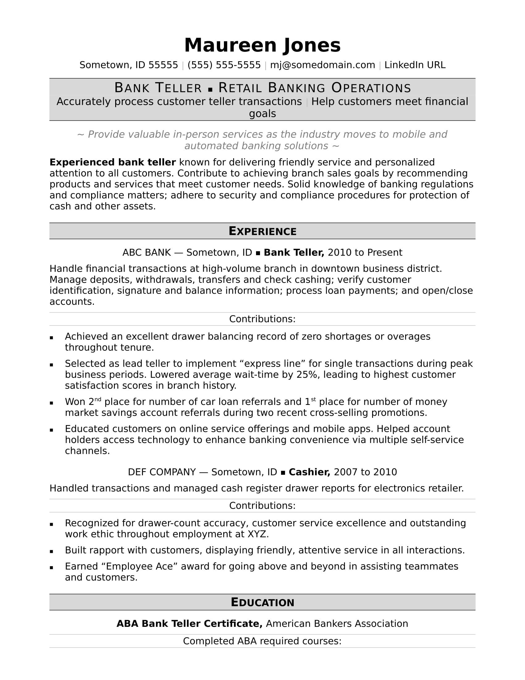 sample resume for relationship manager in bank