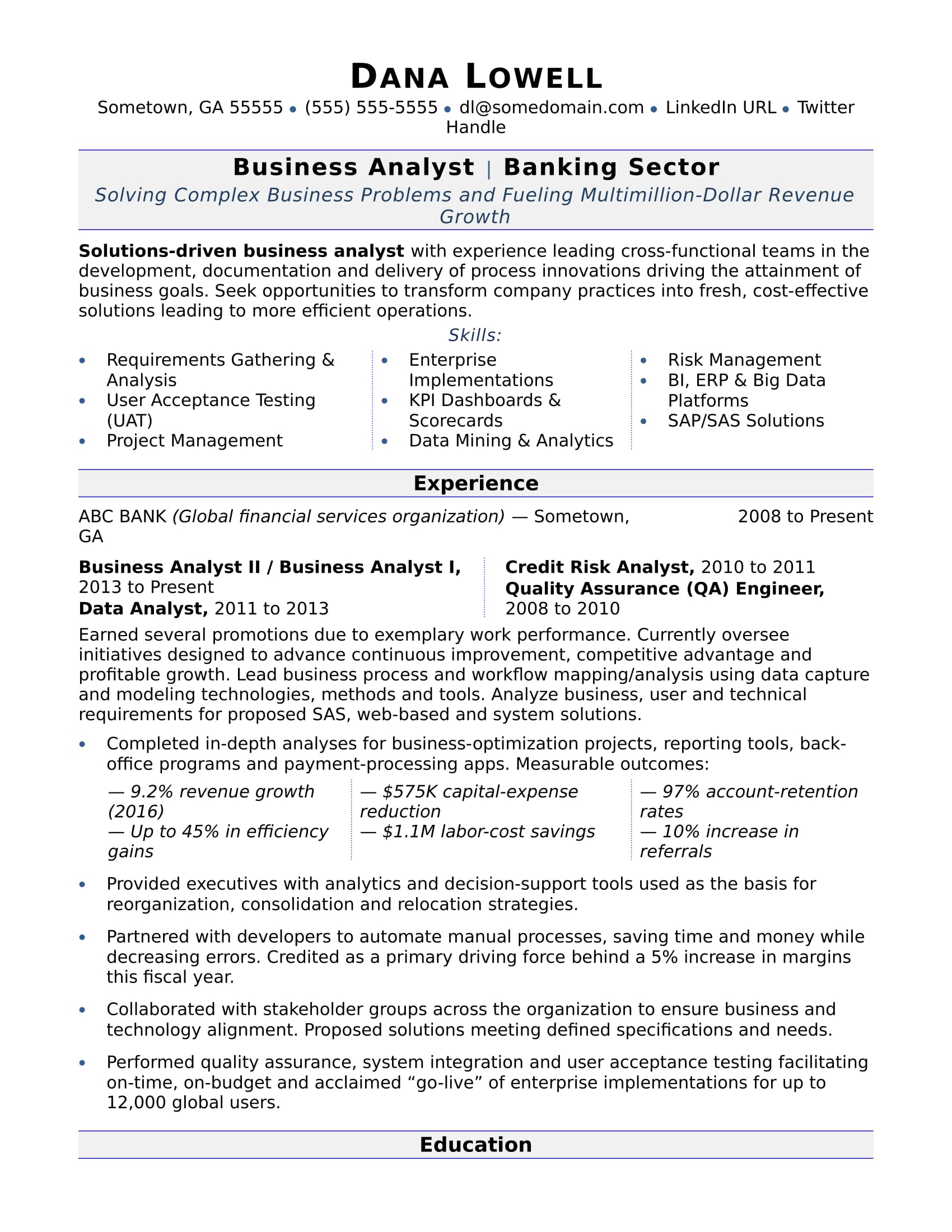 data analyst sample resume in banking