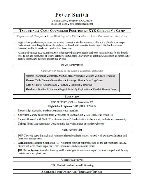 Camp Counselor Resume Sample Monster