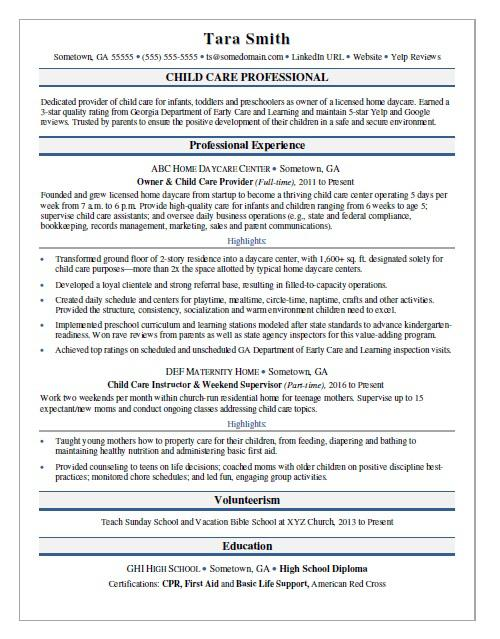 Child Care Resume Sample Monster - child care sample resume