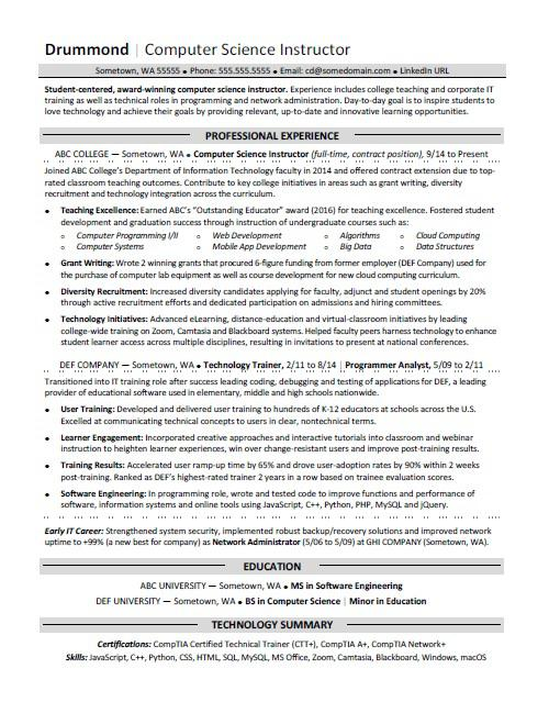 Computer Science Resume Sample Monster - computer programming student resume