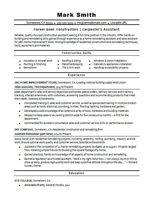 example of construction resumes