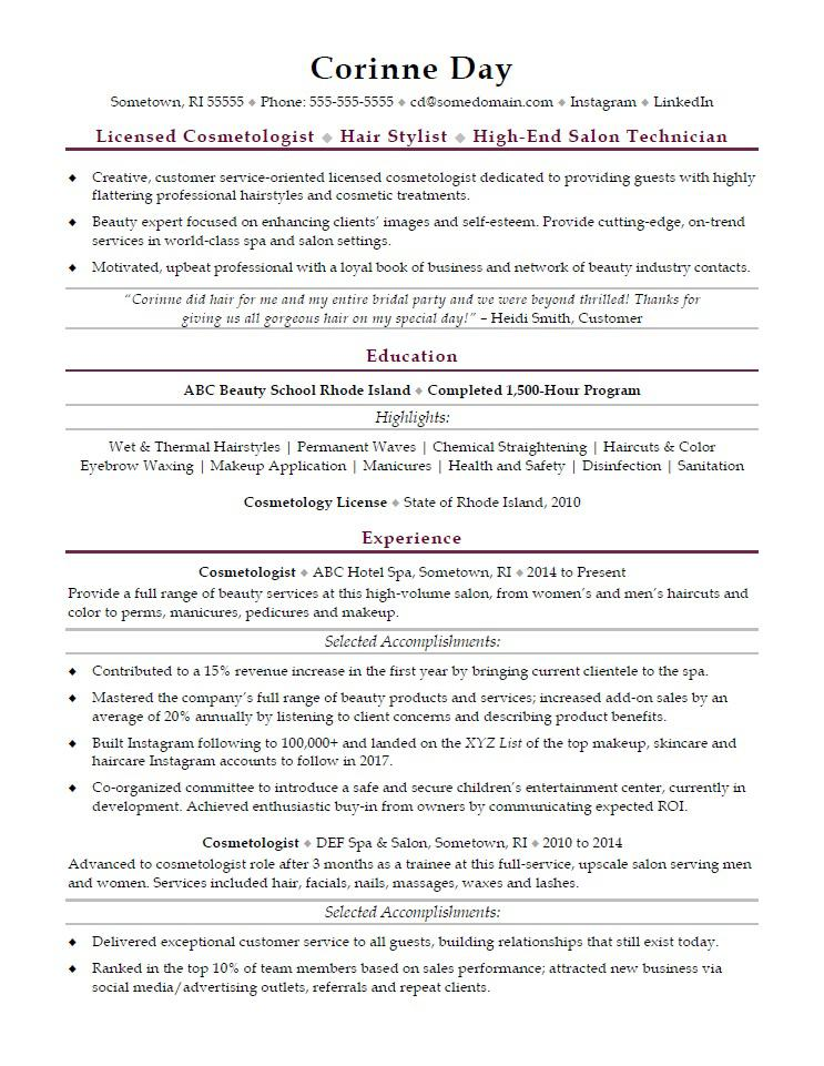 Cosmetologist Resume Sample Monster - professional accomplishments resume