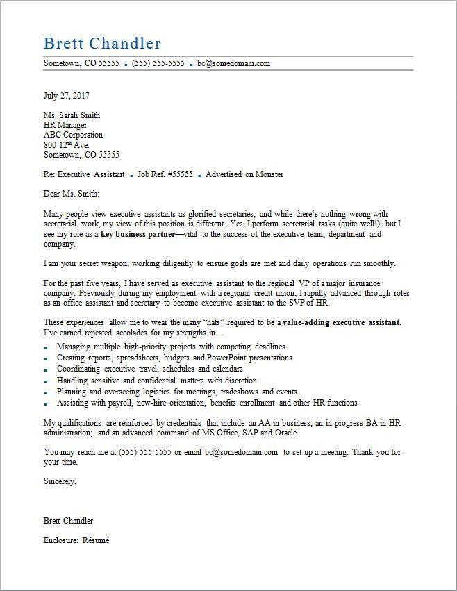 Executive Assistant Cover Letter Sample Monster - sample cover letter for executive istant job