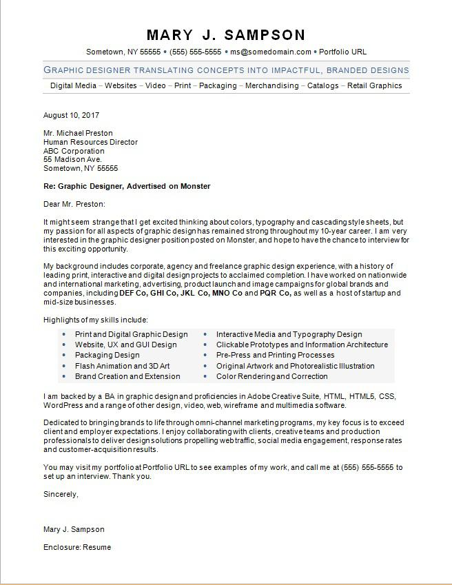 Graphic Designer Cover Letter Sample Monster - cover letter template download