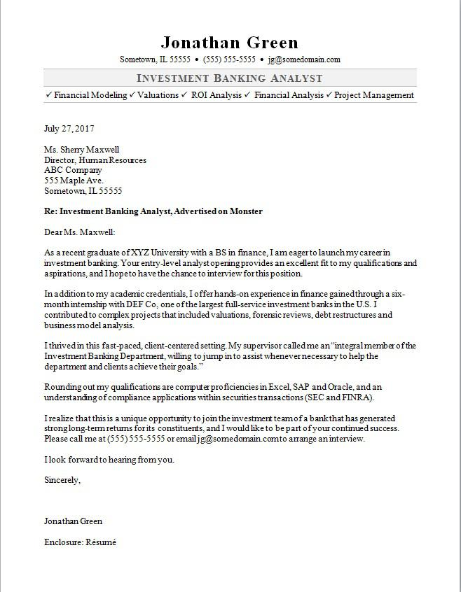 Investment Banker Cover Letter Sample Monster