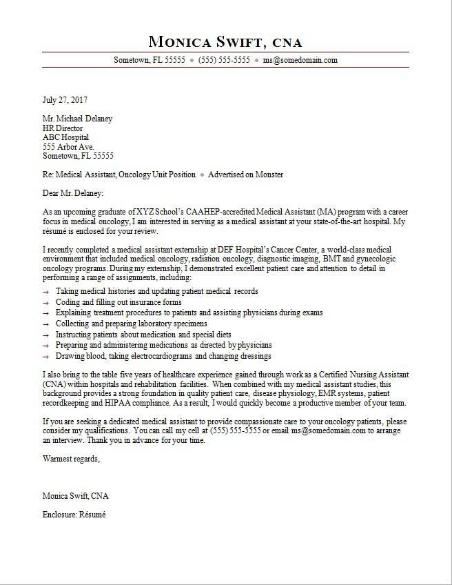 Medical Assistant Cover Letter Sample Monster - what is on a resume cover letter