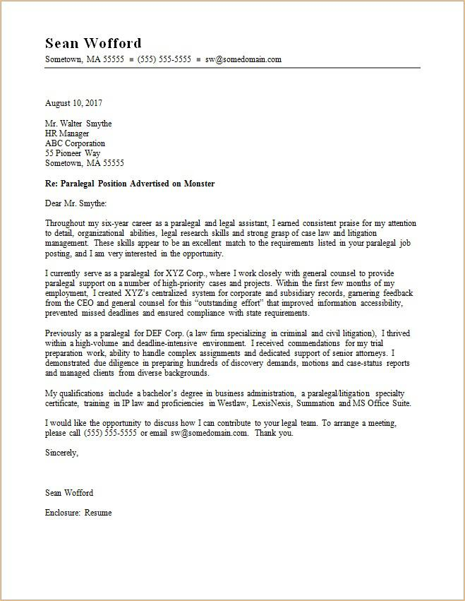 Sample Cover Letter For Law Firm Application - Sample cover letter