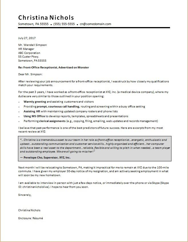 Receptionist Cover Letter Sample Monster - examples of resume cover letters for customer service