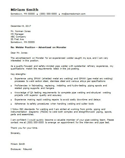 Welder Cover Letter Sample Monster - pipeline welder sample resume