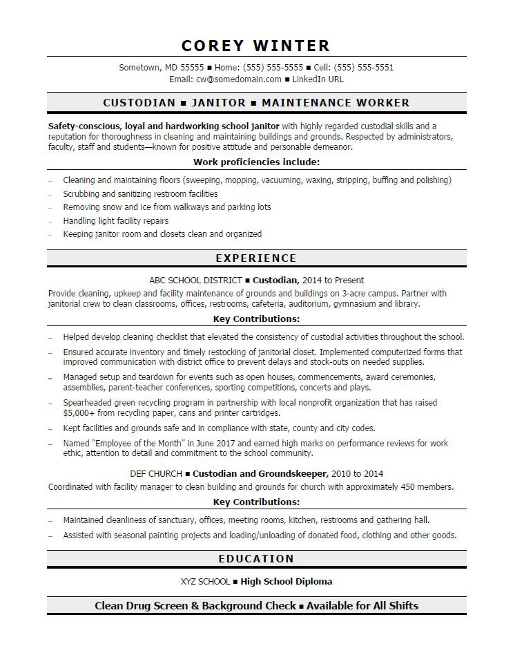 school janitor sample resume