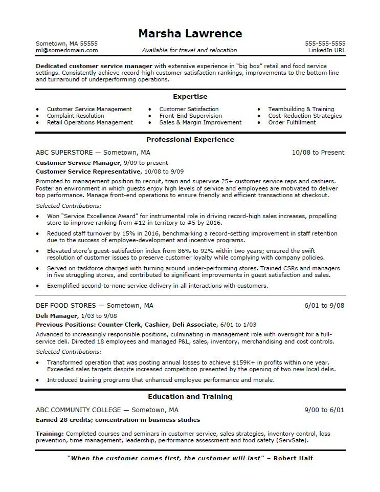 Customer Service Manager Resume Sample Monster